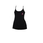 Ladys Black Spagetti Starp Pink Logo