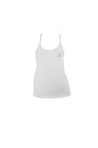 Ladys Spagetti Strap Top White green logo